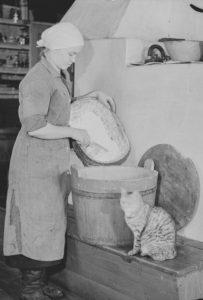 ihminen ja kissa leivinuunin ääressä leivontapuuhissa