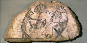 egyptiläinen kissaa ja hiirtä kuvaava piirros n. 1200-luvulta eKr.